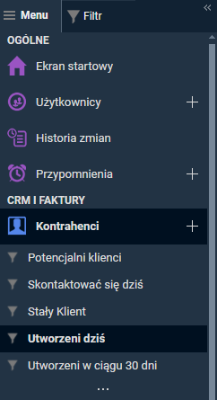 menu CRM