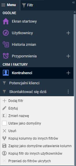 menu filtrów