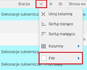 Wybór filtra z kolumny