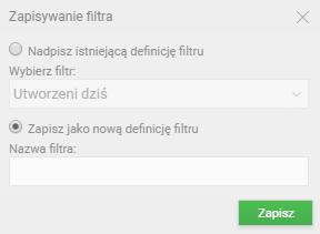 Zapisywanie filtra