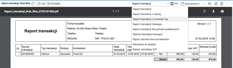 Fakturowanie - raporty