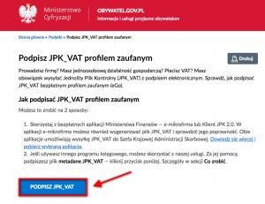 JPK VAT - podpisywanie
