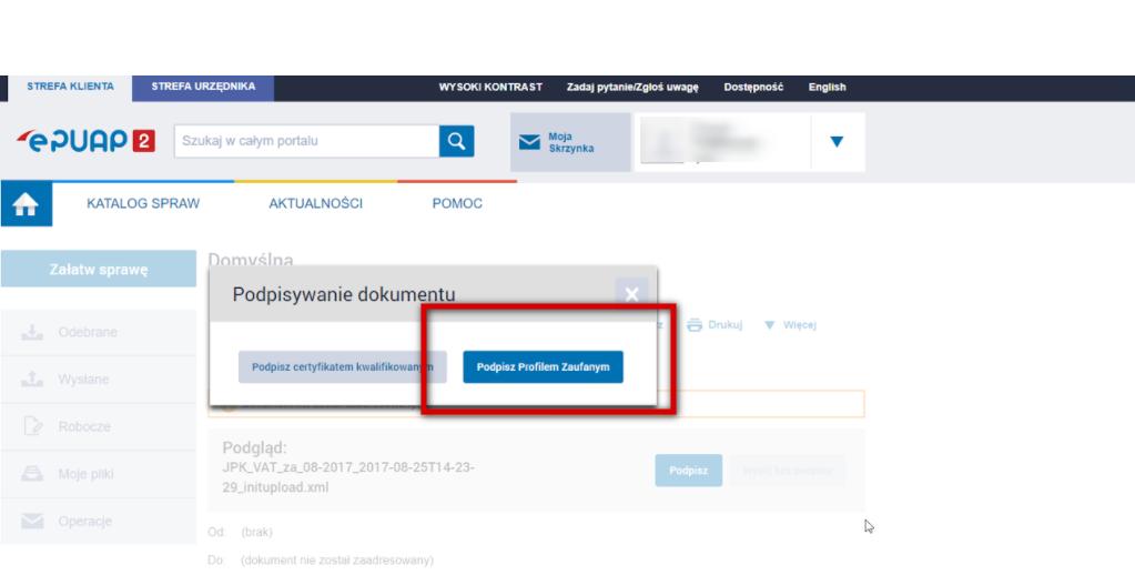 JPK VAT - podpisywanie w epuap profilem Zaufanym