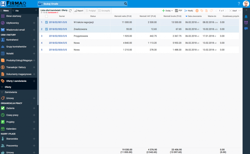 Oferty i zamówienia w systemie ERP Firmao