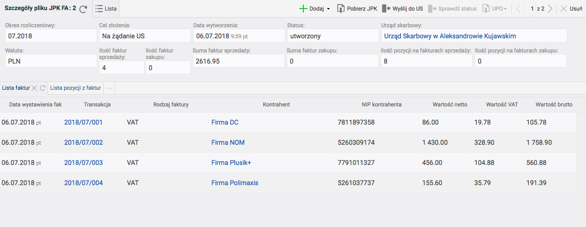 Szczegóły pliku JPK FA w systemie Firmao