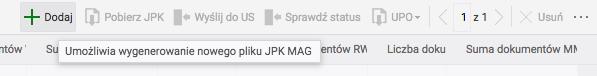 Dodawania JPK MAG z górnego menu