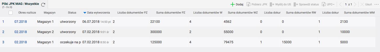 Lista plików JPK MAG