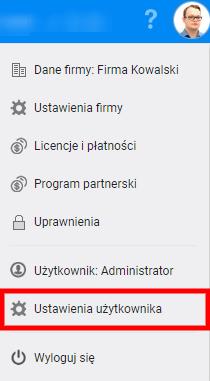 Ustawienia użytkownika
