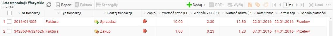 Faktura - lista faktur i transakcji